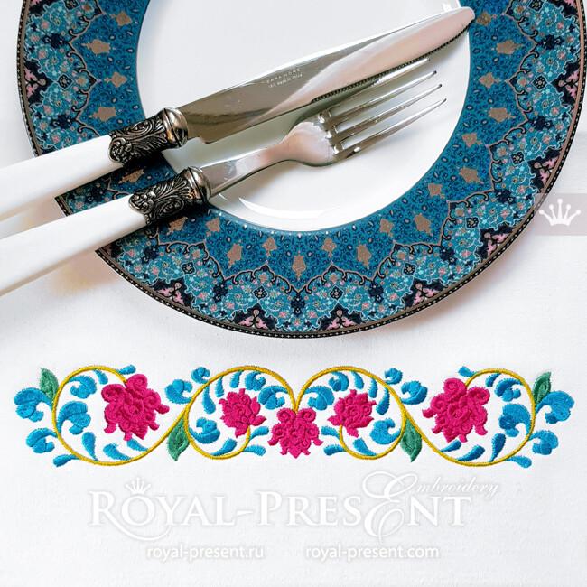 Восточный цветочный бордюр Дизайн машинной вышивки - 3 размера