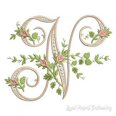 Монограмма N с розами Дизайн машинной вышивки