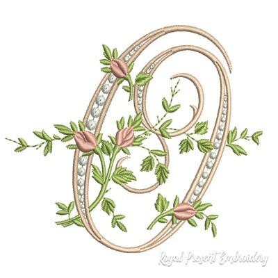 Монограмма O с розами Дизайн машинной вышивки