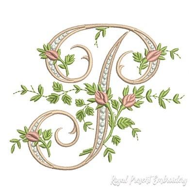 Монограмма P с розами Дизайн машинной вышивки