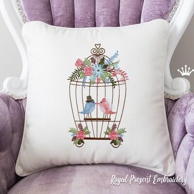 Свадебные Птички Дизайн машинной вышивки - 7 размеров