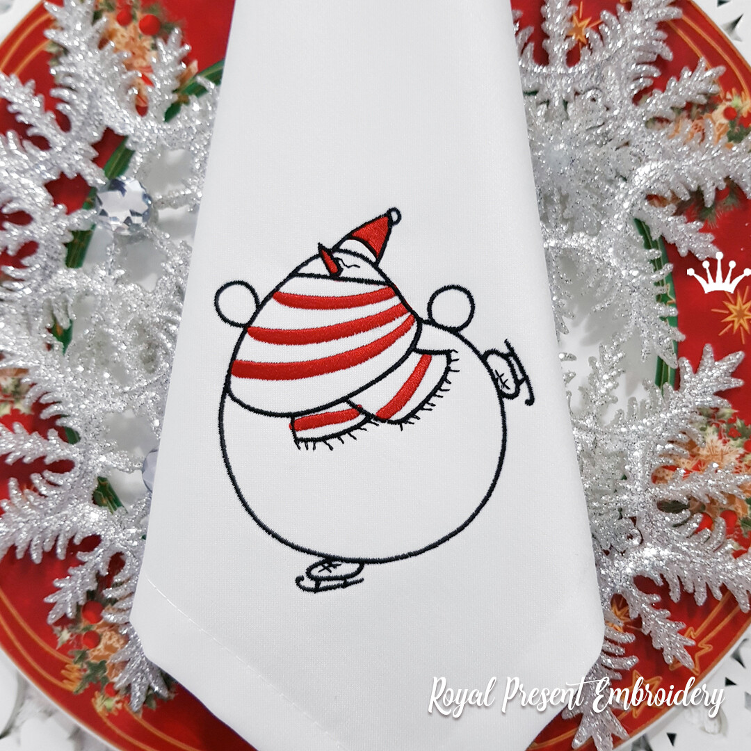Снеговик на коньках Дизайн машинной вышивки - 6 размеров