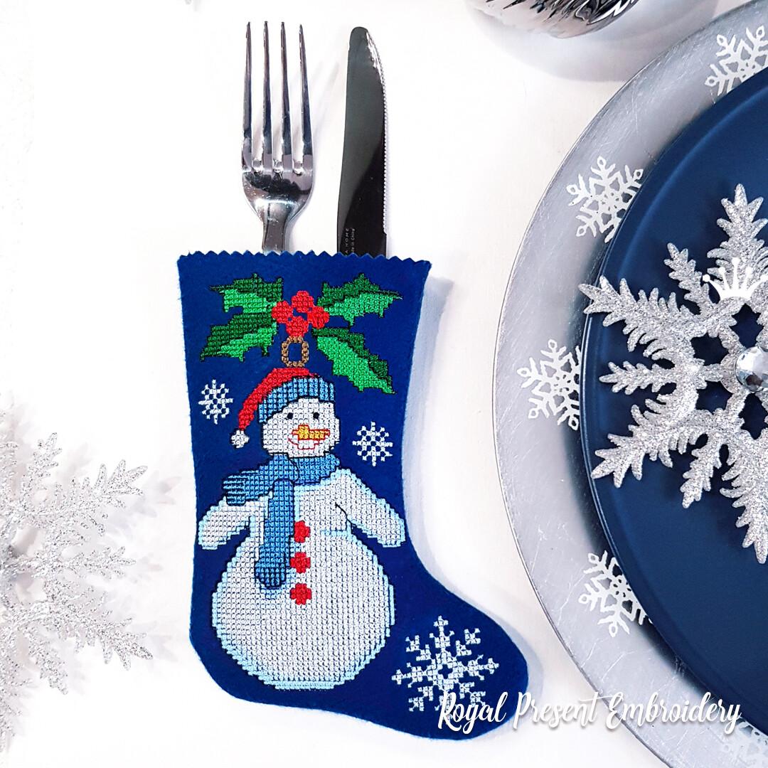 Сапожок для столовых приборов Снеговик Дизайн машинной вышивки крестом
