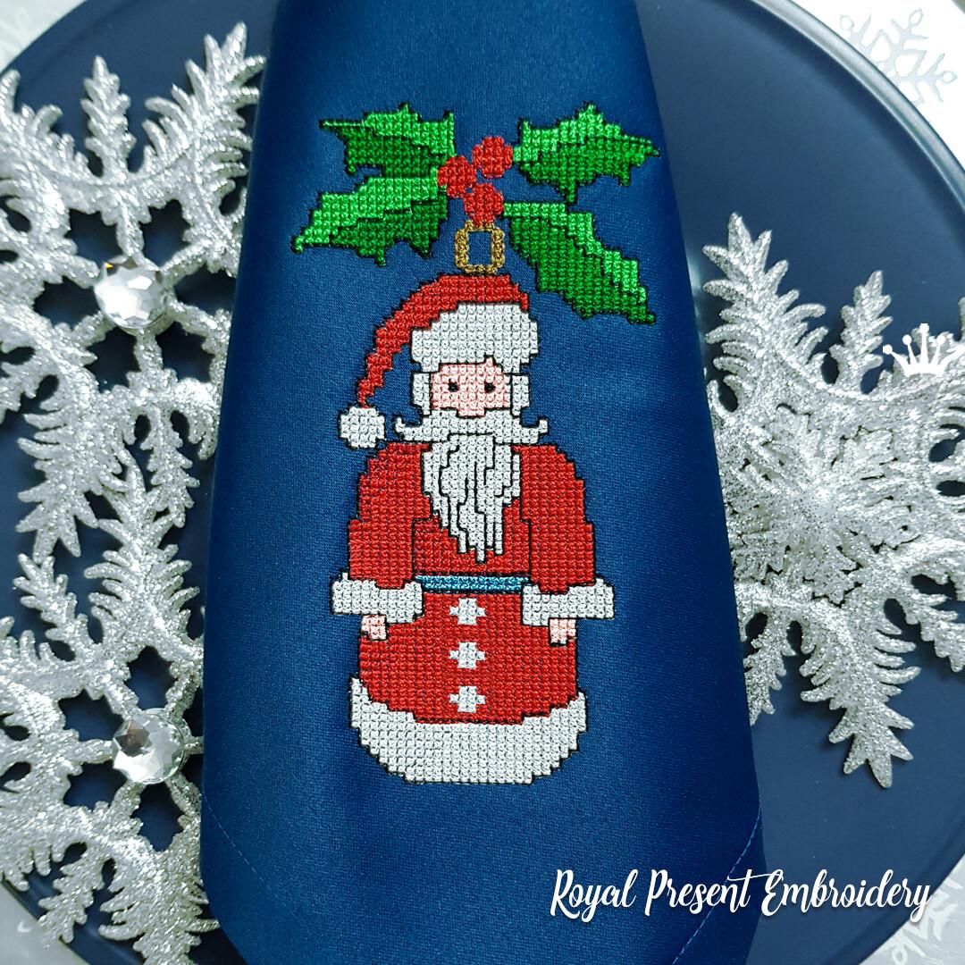 Дед Мороз Елочная Игрушка Дизайн машинной вышивки крестом