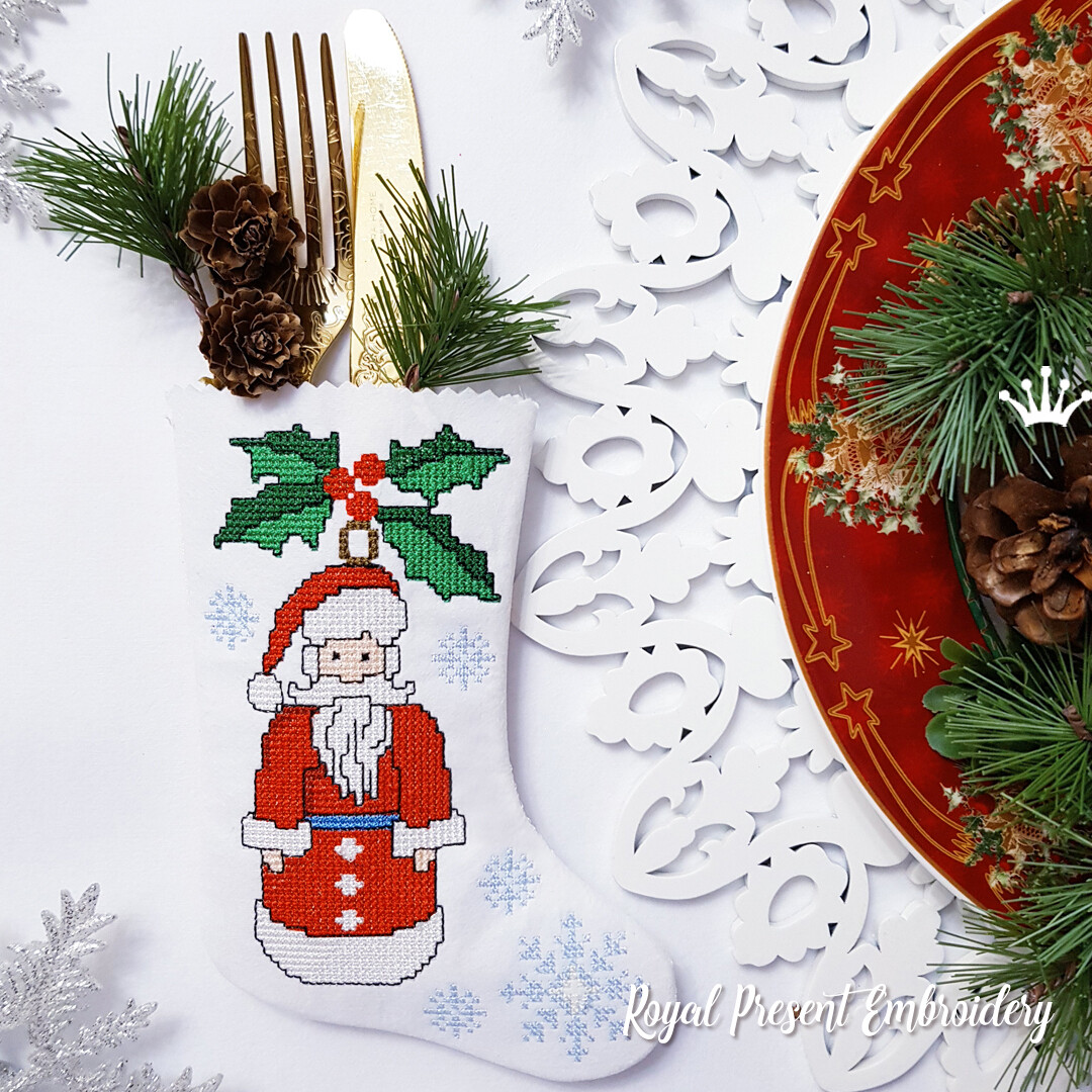 Сапожок для столовых приборов Дед Мороз Дизайн машинной вышивки крестом
