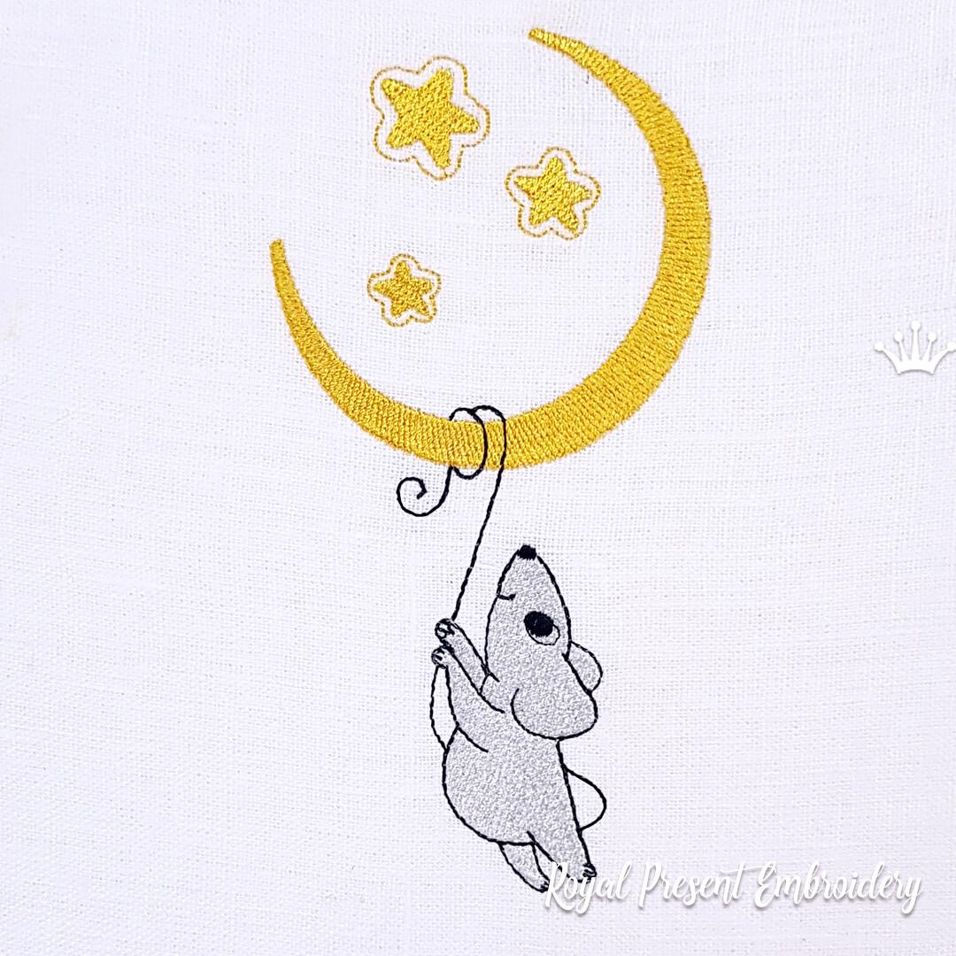 Мышка висит на луне Дизайн машинной вышивки