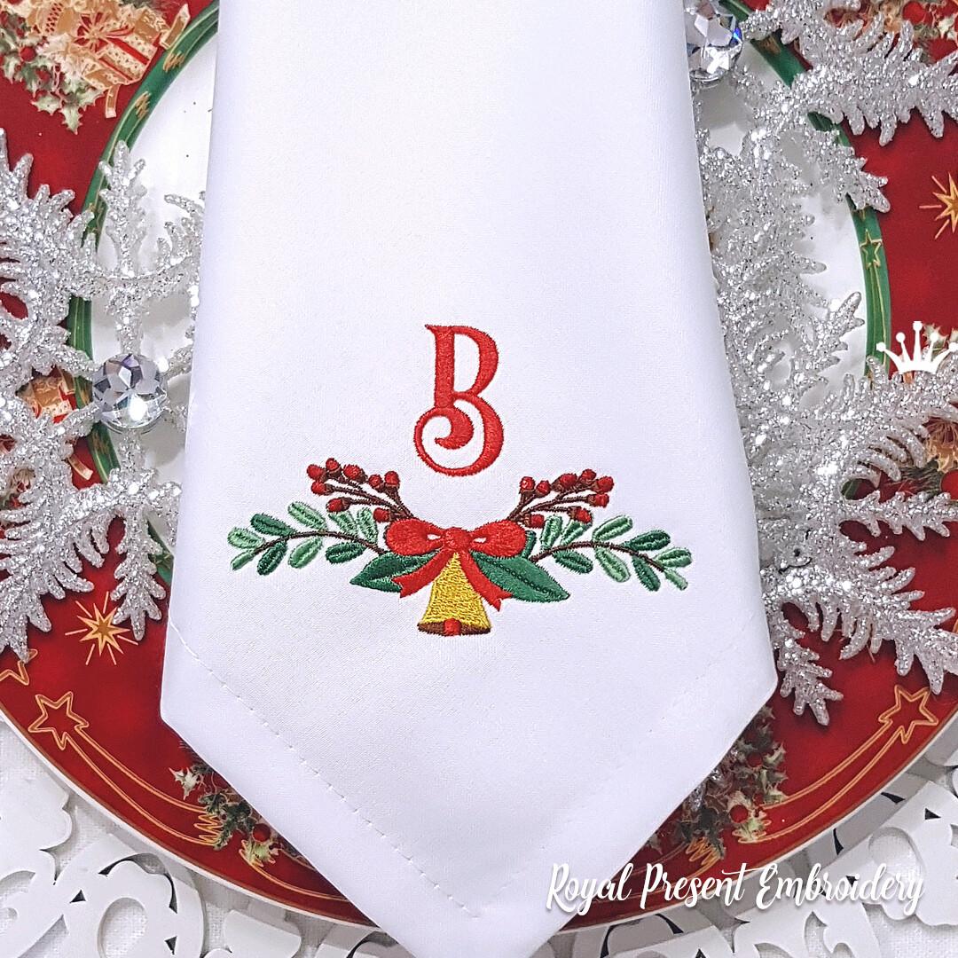 Новогоднее украшение с колокольчиком  Дизайн машинной вышивки
