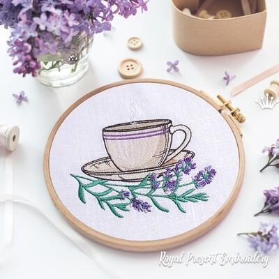 Лавандовый Чай Дизайн машинной вышивки - 3 размера
