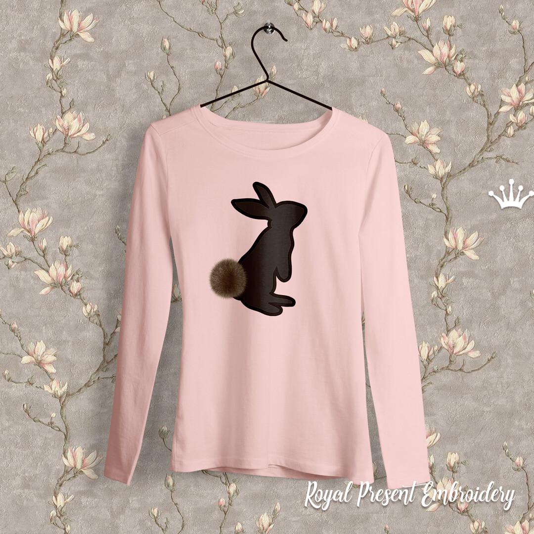 Кролик Дизайн машинной вышивки с Аппликацией - 4 размера
