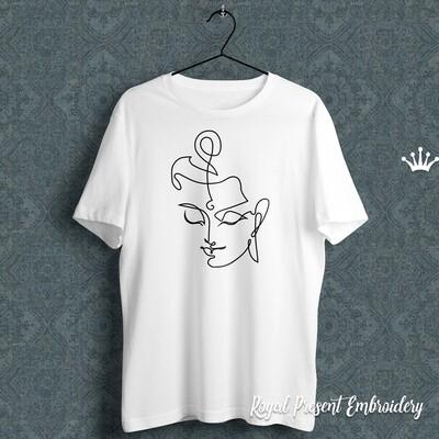 Контурная голова Будды Дизайн машинной вышивки - 5 размеров