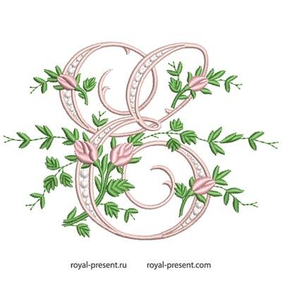 Монограмма E с розами Дизайн машинной вышивки