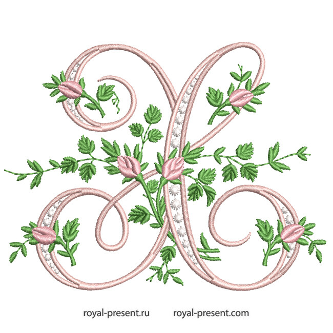Монограмма X с розами Дизайн машинной вышивки