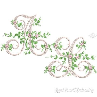 Весь Алфавит Монограммы с розами Дизайны машинной вышивки