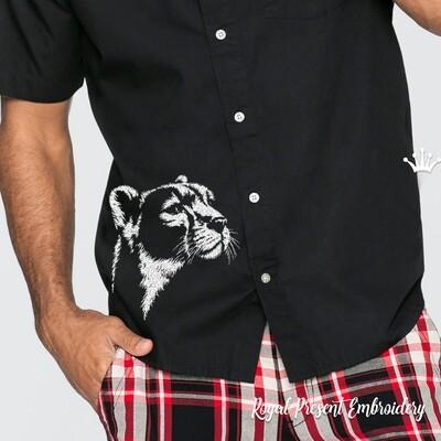 Черно белая голова Пумы Дизайн машинной вышивки - 4 размера
