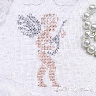 Ангел с лютней Дизайн машинной вышивки крестом - 2 размера