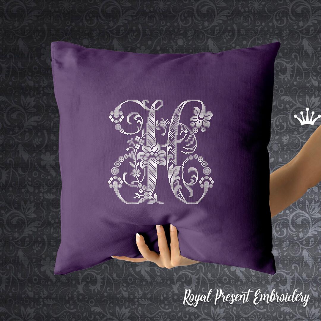 Заглавная буква H Дизайн машинной вышивки крестом
