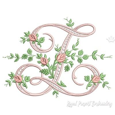 Монограмма Z с розами Дизайн машинной вышивки