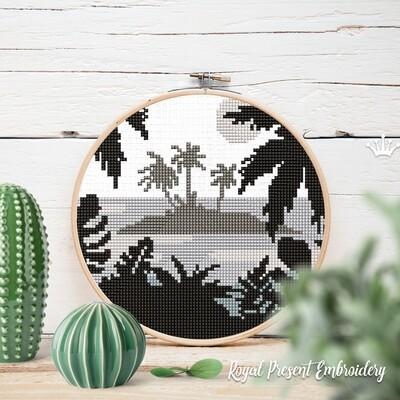 Тропический остров Бесплатный дизайн машинной вышивки крестом