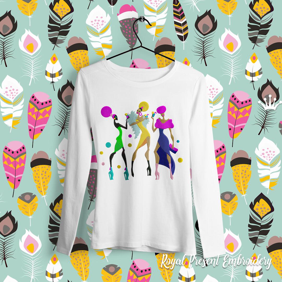 Клубные Африканские Девушки Дизайн машинной вышивки - 6 размеров