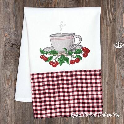 Чашка с Вишнями Дизайн машинной вышивки - 3 размера