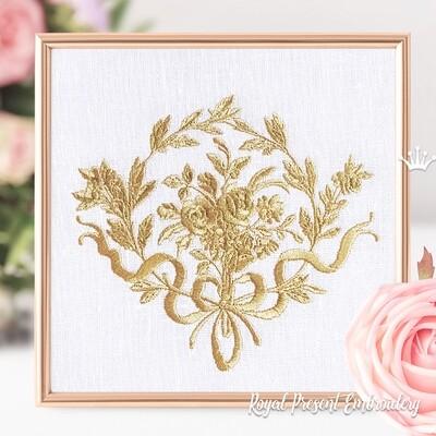 Барокко рамка с розами Дизайн машинной вышивки - 3 размера