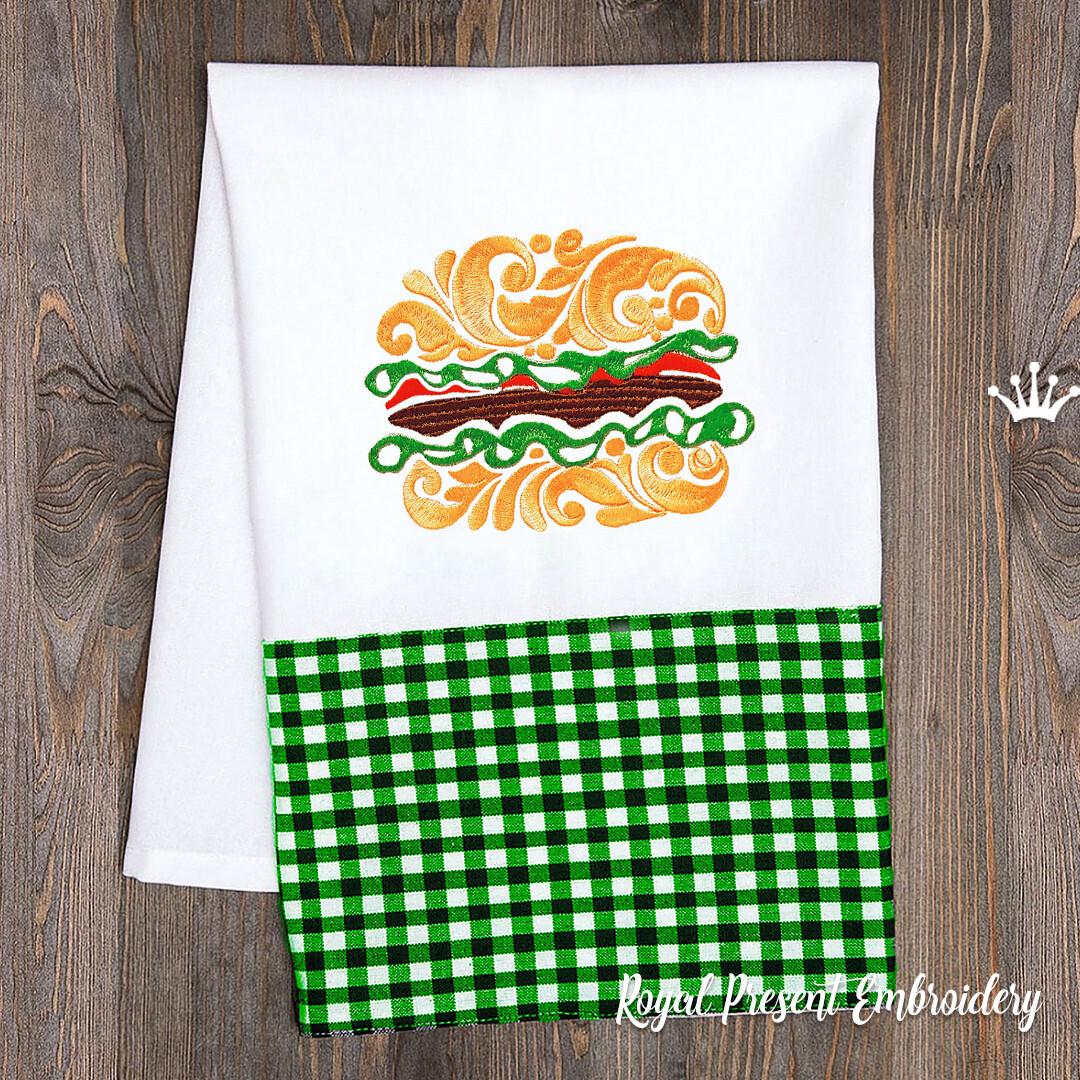 Витиеватый Бургер Дизайн машинной вышивки - 3 размера