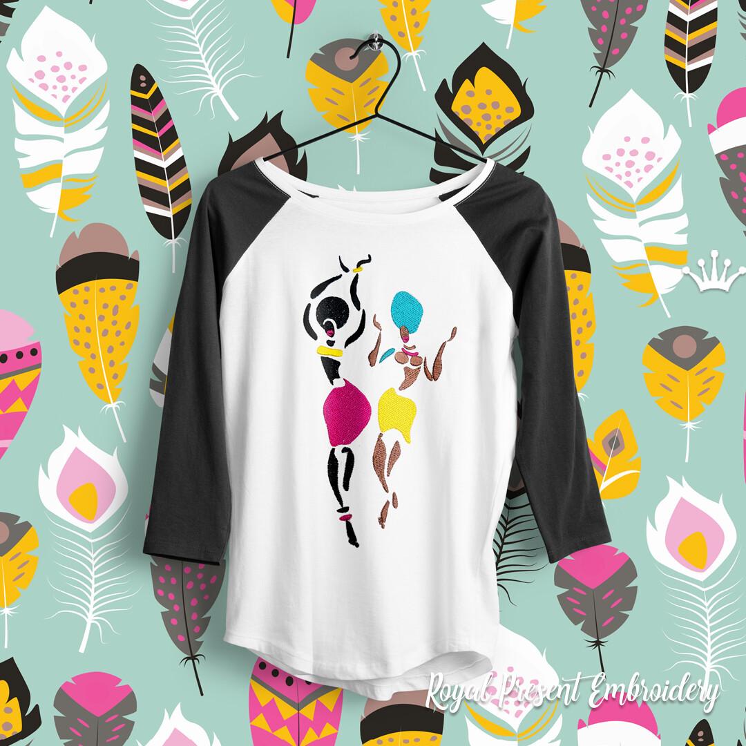 Африканские Танцовщицы Дизайн машинной вышивки - 7 размеров