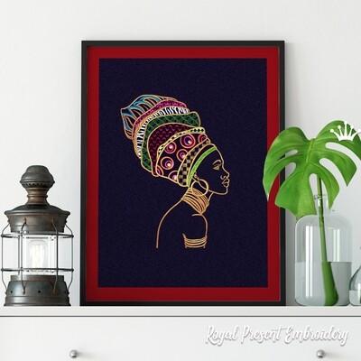Африканская Девушка Дизайн машинной вышивки - 6 размеров