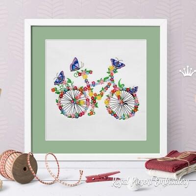 Цветочный велосипед с бабочками Дизайн машинной вышивки - 5 размеров