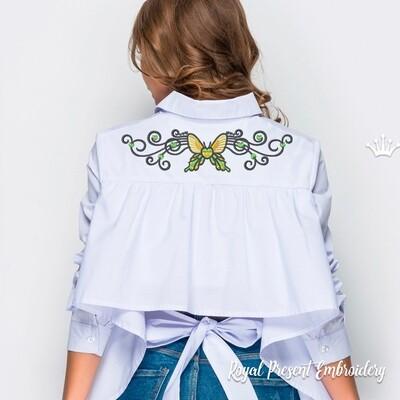 Бабочка в тату стиле Дизайн для машинной вышивки - 4 размера