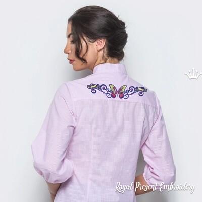 Бордюр Бабочка в тату стиле Дизайн машинной вышивки - 4 размера