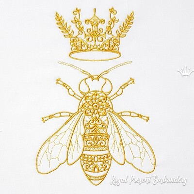 Дизайн вышивки Пчела с Короной - 5 размеров