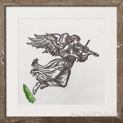 Ангел со скрипкой Дизайн машинной вышивки