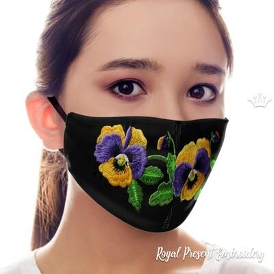 Маска для лица Анютины Глазки Бесплатный Дизайн машинной вышивки - 4 размера