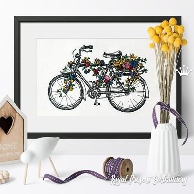 Велосипед с цветами Дизайн машинной вышивки - 4 размера