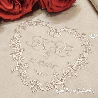 Обрамление для свадебной монограммы Дизайн машинной вышивки - 5 размеров