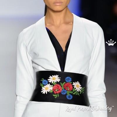 Маки, ромашки, васильки Дизайн машинной вышивки - 5 размеров