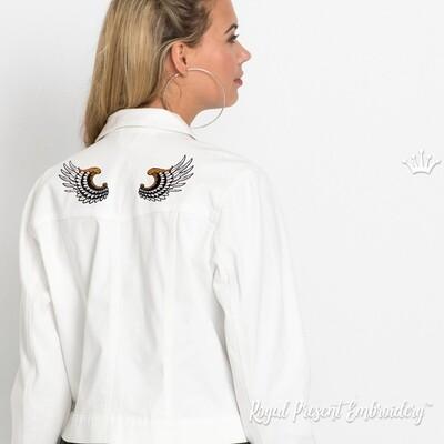 Декоративные Крылья Дизайн машинной вышивки - 2 размера