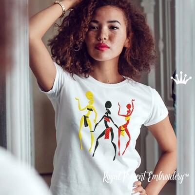 Дизайны машинной вышивки Силуэт Африканские Танцовщицы - 3 размера