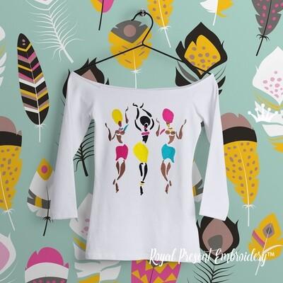 Дизайн машинной вышивки Африканские Танцовщицы - 3 размера