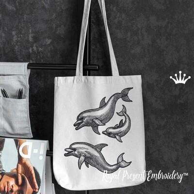 Дельфины Дизайны машинной вышивки - 4 размера