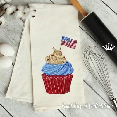 Кекс с флагом США дизайн машинной вышивки - 4 размера