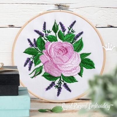 Роза и Лаванда Букет Дизайн машинной вышивки - 2 размера