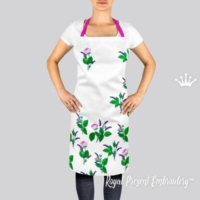 Набор Садовые Розы и Лаванда Дизайн машинной вышивки -  5 в 1