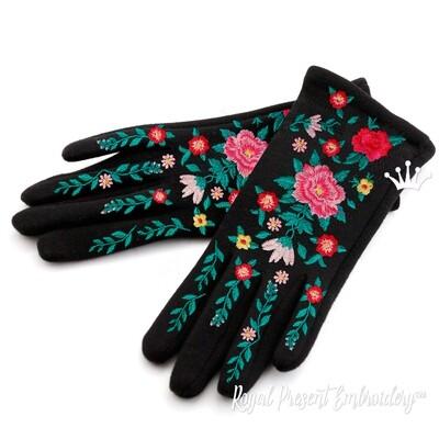 Цветы для перчаток Дизайн машинной вышивки - 2 размера