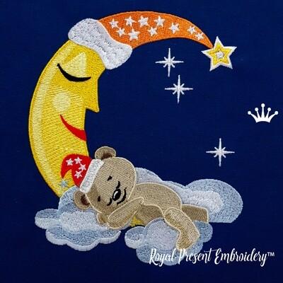 Медвежонок спит на Луне Дизайн машинной вышивки - 5 размеров