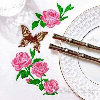 Набор Садовые Розы и Бабочка Дизайн машинной вышивки - 3 в 1