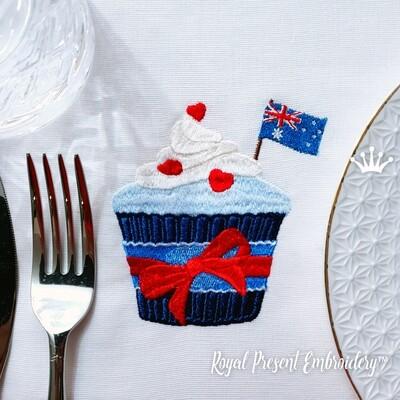 Кекс с флагом Австралии дизайн машинной вышивки