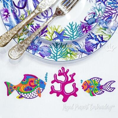 Рыбки в мексиканском стиле Дизайны машинной вышивки