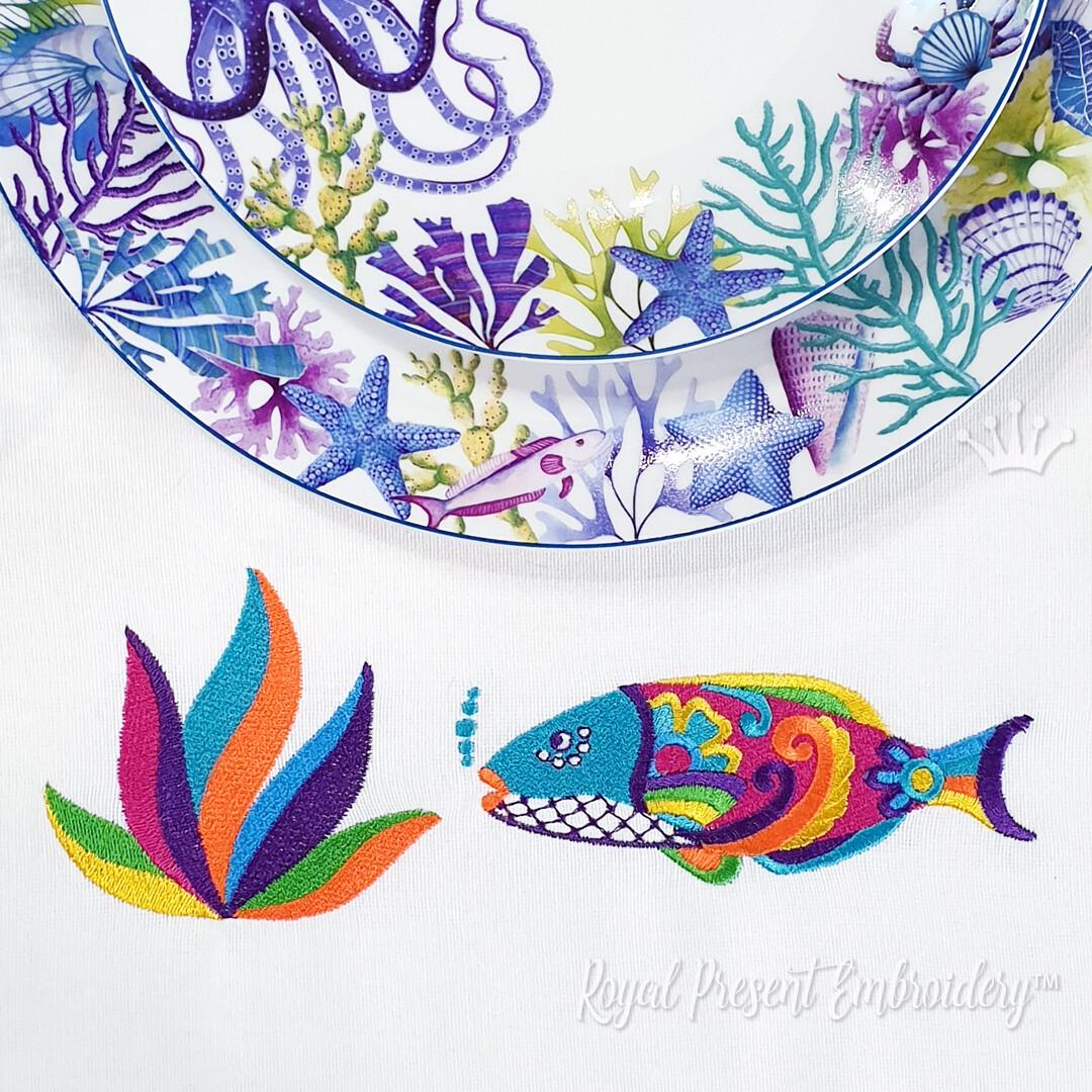 Рыбка и кораллы в мексиканском стиле Дизайны машинной вышивки